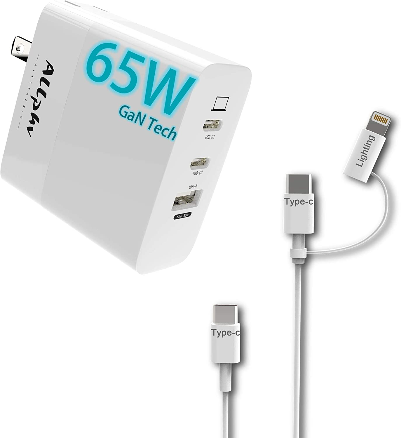 65W USB C Wall Charger GaN Tech Fast Charging 3-Port PD3.0 Charger Compact Type C Adapter with 1M Cable for iPhone;iPad Pro; MacBook Pro, Galaxy S10 S9.