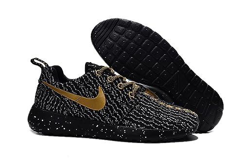 nike roshe run mens gold black sports running shoes