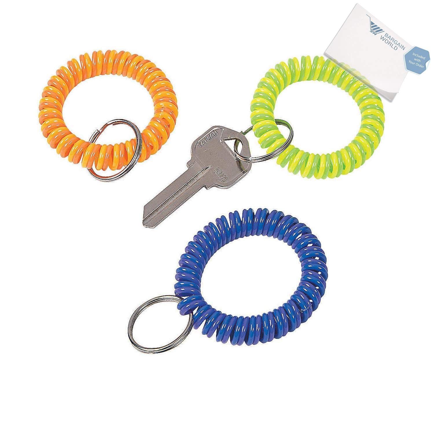 Bargain World Neon Coil Keychains (With Sticky Notes)