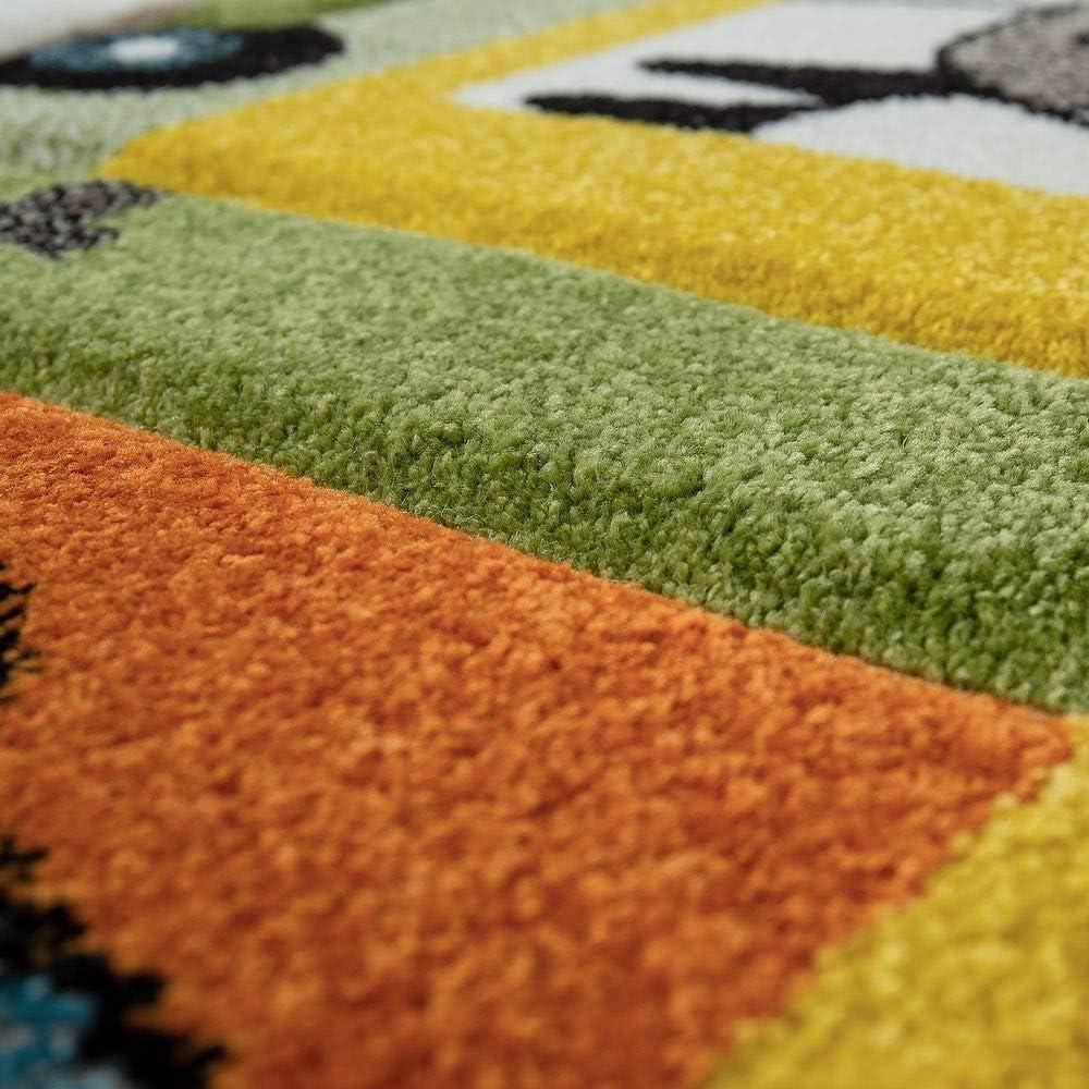 tama/ño:80x150 cm Alfombra Habitaci/ón Infantil para Ni/ños Motivo De Animales Y Selva Pelo Corto Color:Verde
