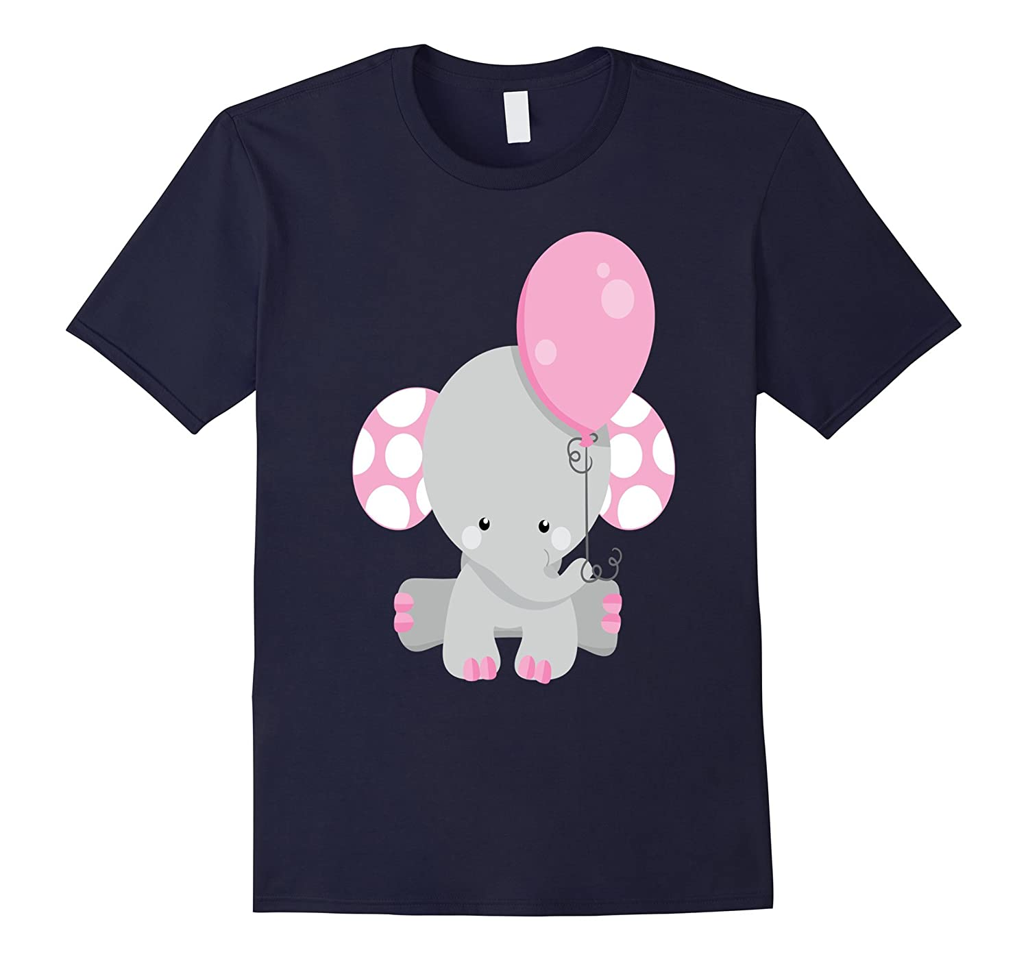 Baby Girl Elephant Shirt Pink Kids Daughter Balloon Gray-TH