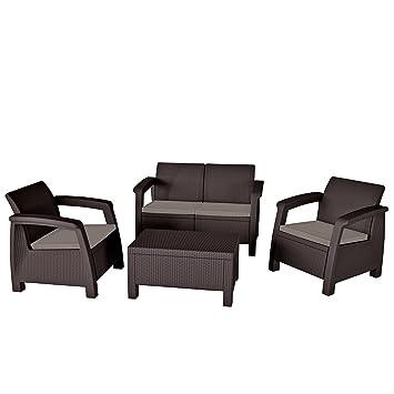 Mirjan24 Gartenmöbel Bahamas, Rattanoptik Set, Sitzgruppe, 2 Sessel + Sofa  + Couchtisch,