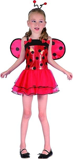 Disfraz de Mariquita con alas niña M 7-9 años (120-130 cm): Amazon ...