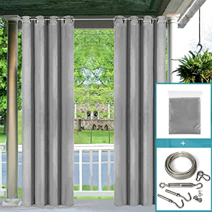 Pro Space 50x84inch Outdoor Curtains For Pergola Thermal Insulated Grommet Top Blackout Waterproof Grey Curtain Drape With Diy Adjustable Wire Cable