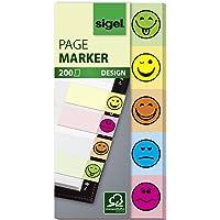 SIGEL HN502 Haftmarker Design Smileys, 200 Streifen im Format 20 x 50 mm, 5 Farben