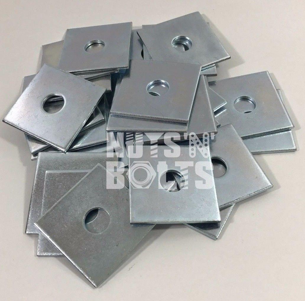 M12x 50x 50x 3Dick Quadratischer Teller Unterlegscheiben Zink versilbert, 50Stück NUTS 'N' BOLTS®