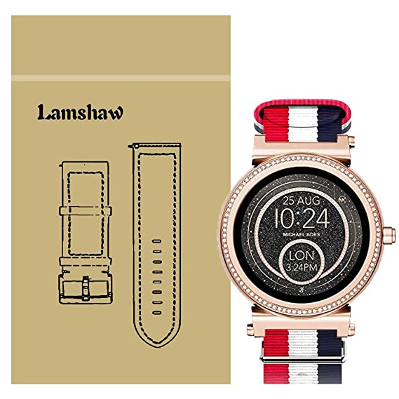 for Michael Kors Access Sofie Bands, Lamshaw Ballistic Nylon Straps for MK Access Smartwatch Sofie Gen 2 (Blue+White+Red)