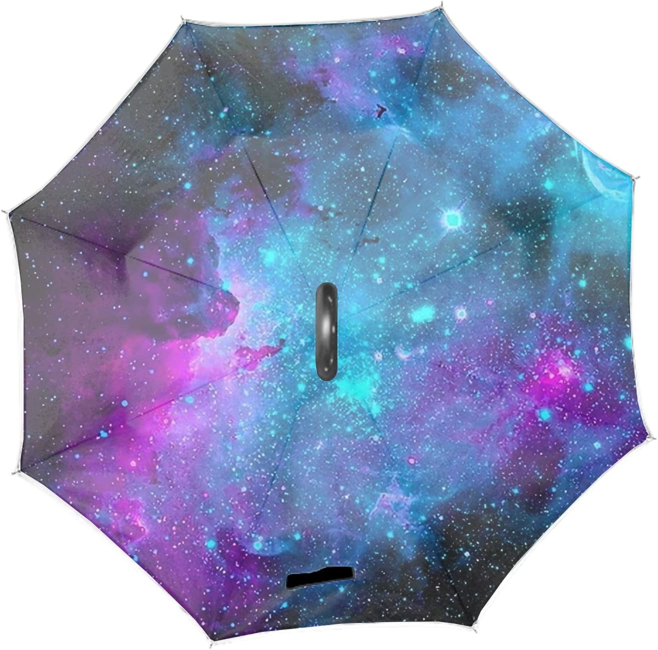 Beautiful Galaxy Space Double Layer Inverted Umbrella Carrying Bag for Traveling Upside Down Inside Out Reverse Umbrella,C-Shape Handle /& Self-Stand to Spare Hands