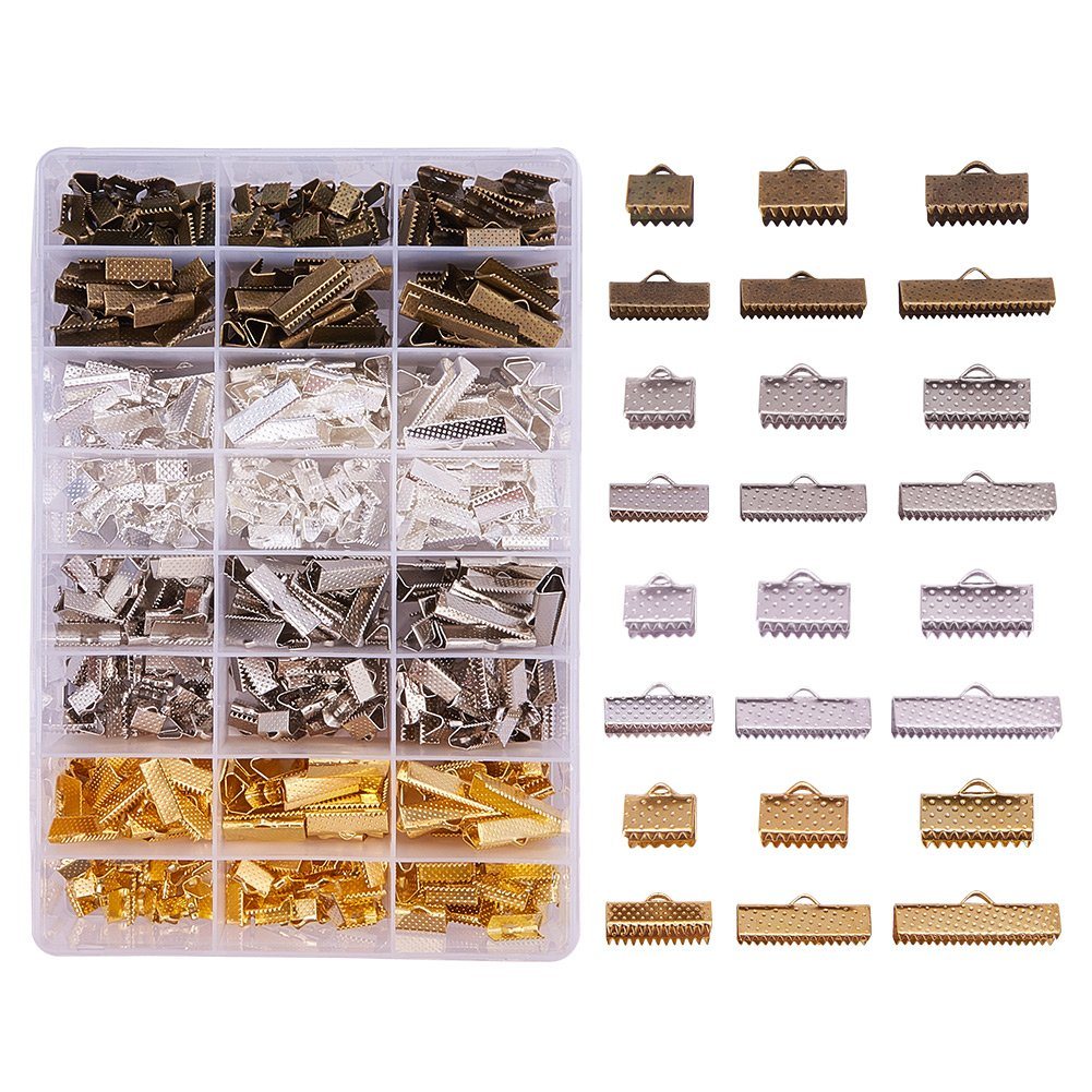 PandaHall Elite 680PCS 6 Size 4 Color Iron Ribbon Ends Bracelet Bookmark Pinch Crimp Clamp End Findings Cord Ends Fasteners Clasp Leather Crimp Ends Jewelry Making Findings by PH PandaHall