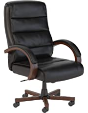 Bush Business Furniture Soft Sense High Back Leather Executive Office Chair with Wood Arms in Black