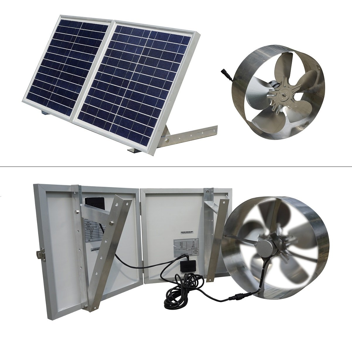 ECO-WORTHY 25W Solar Powered Attic Ventilator Gable Roof Vent Fan with 30W Foldable Solar Panel - Solar Fans for Home Attic, Greenhouse, RV or Outdoor, Ready-to-Use Solar Vent Fan, Solar Roof Vent by ECO-WORTHY