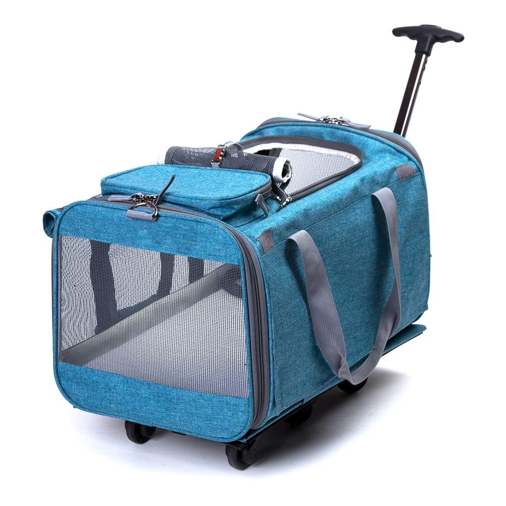 拡張可能なウィンドウ ハンドル メッシュ ペット ホイール キャリア、リムーバブル車輪ペット旅行バッグ、2 つの側の拡張を転がり、 B07MW7J3J7 lightblue  lightblue