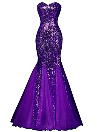 Azbro Womens Glamour Sweetheart Sequin Mermaid Long Prom Dress (Purple, ...