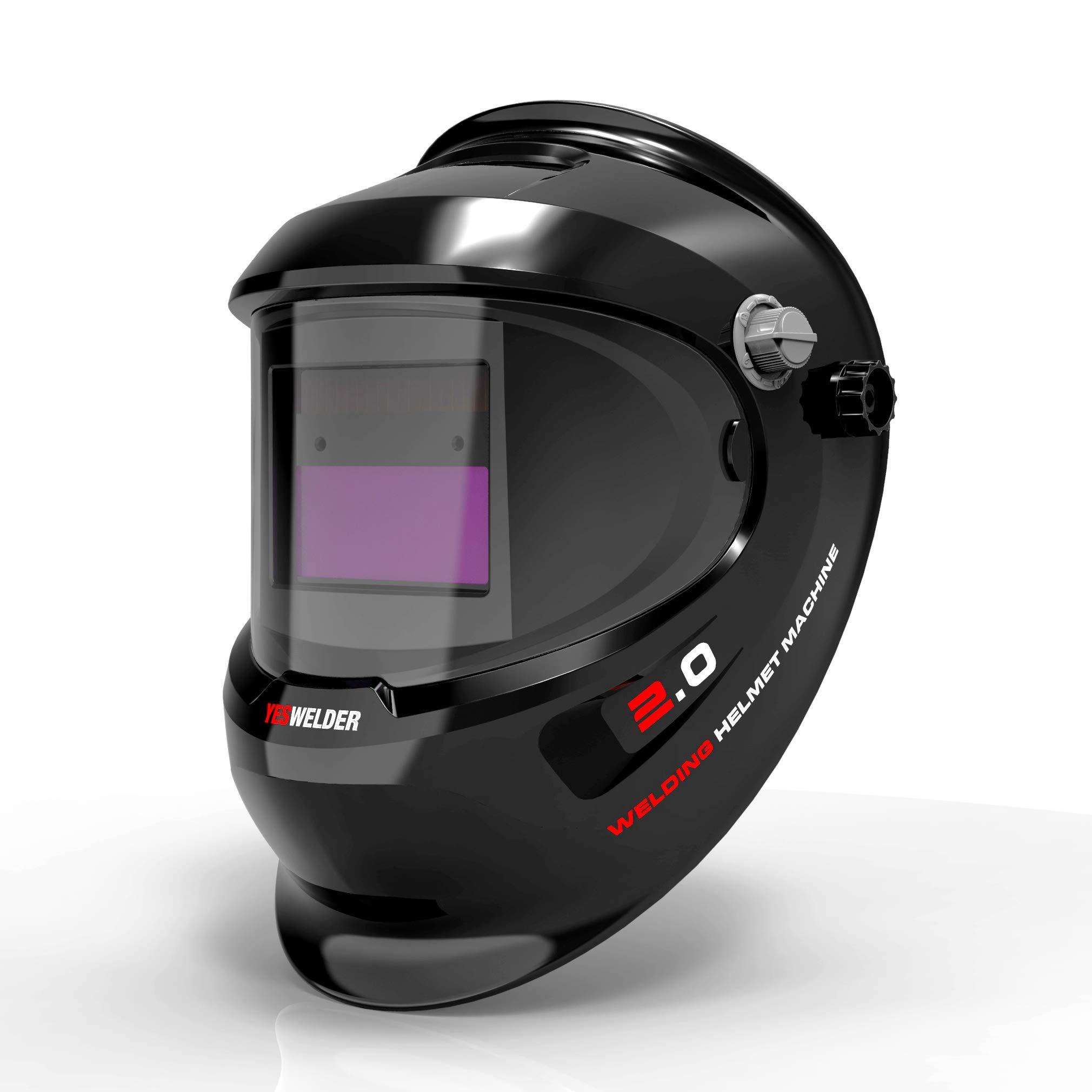 YESWELDER True Color Solar Power Auto Darkening Welding Helmet,2 Arc Sensor 4/5-9 Welder Mask for TIG MIG Arc Weld Grinding Weld Hood by YESWELDER