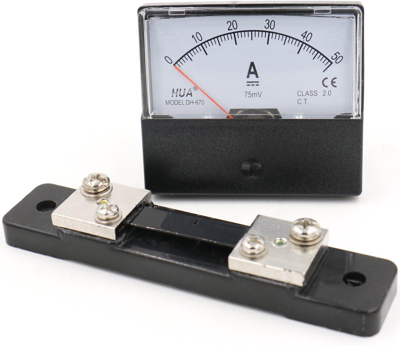 heschen rect/ángulo de panel montado en Contador de corriente amper/ímetro Tester DH de 670/DC 0/ /50/A clase 2,0/con Shunt