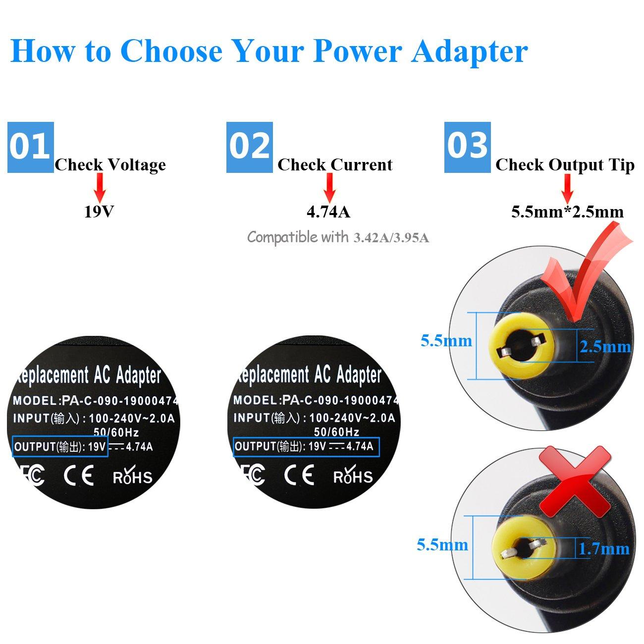 PFMY Cargador Adaptador 19V 4,74A 90W Compatible para ASUS F55C F550V X502CA X550CA F501A S500CA R500A R500V DK52J K53 K53E X54C X53S X53 X53E X44 ...