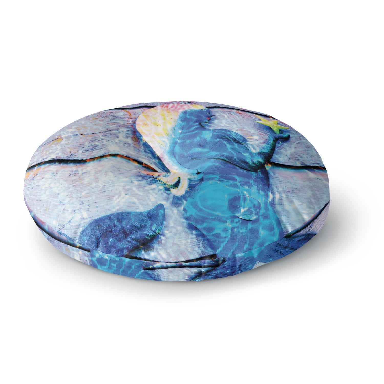 Kess InHouse Anne Labrie Mermaid Starlight Aqua Blue Round Floor Pillow 26' AL2004ARF02