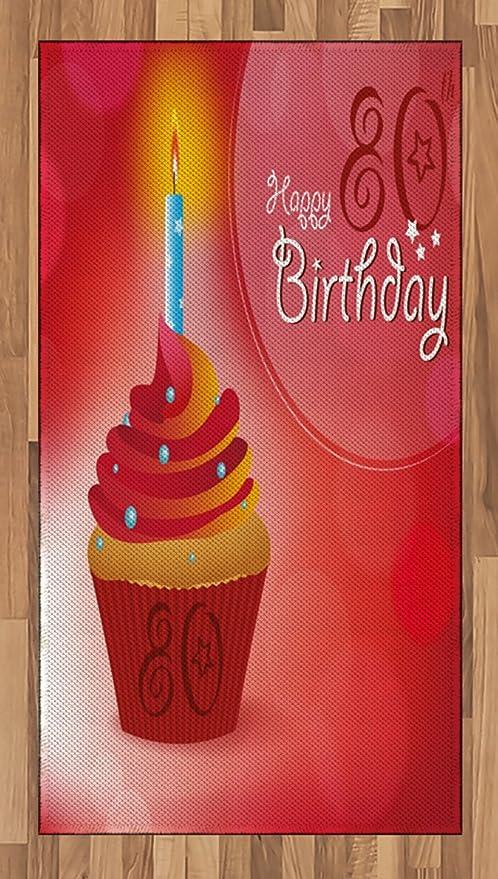Ambesonne Alfombra de 80 cumpleaños, Fiesta de cumpleaños ...