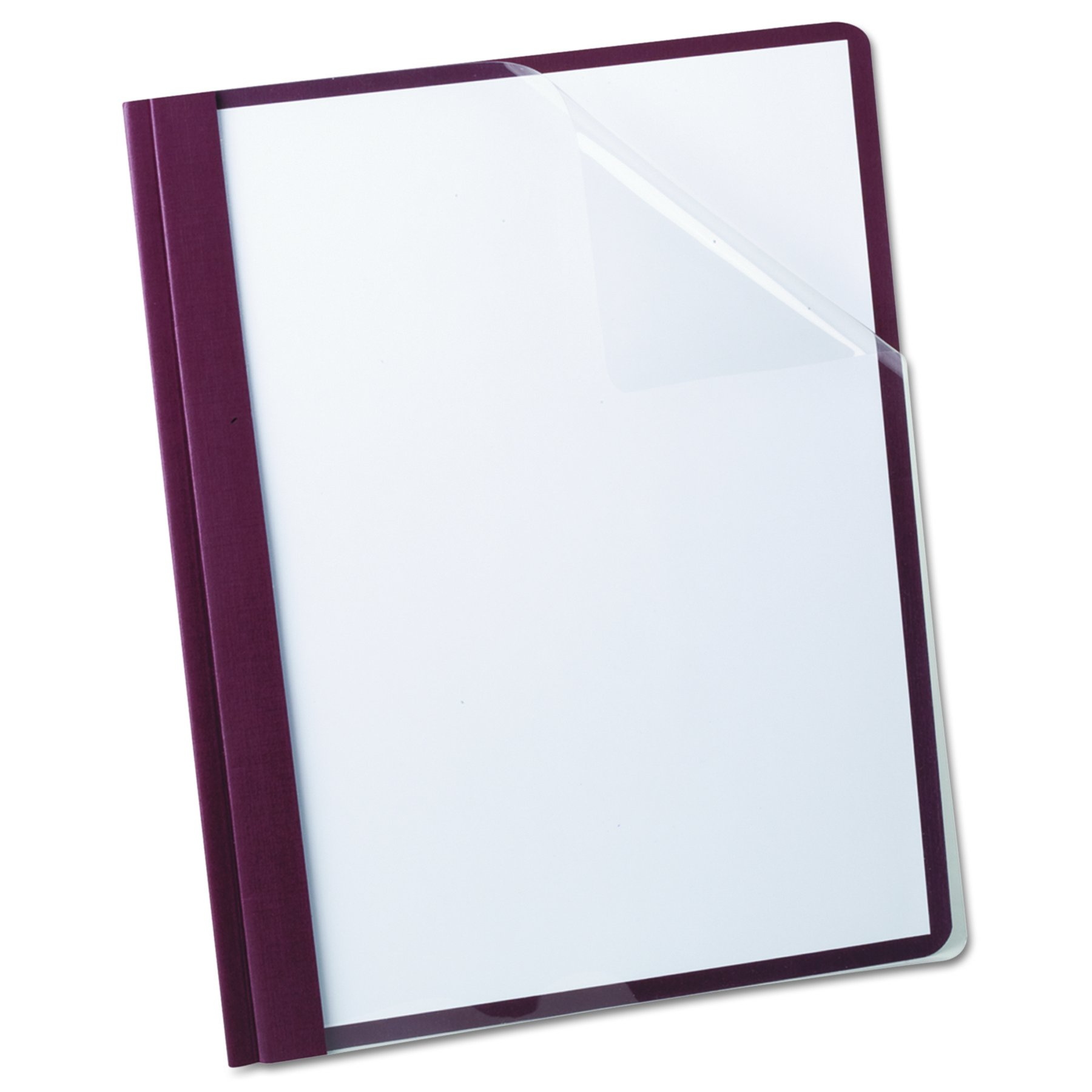 Oxford 53341 Clear Front Report Cover, 3-Prong, 1/2 Capacity, Burgundy Back Cover, 25/box by Oxford (Image #2)