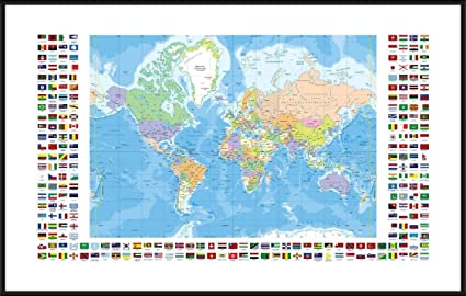 Amazon alonline art political modern flags world map black alonline art political modern flags world map black aluminum framed poster print on 100 gumiabroncs Image collections