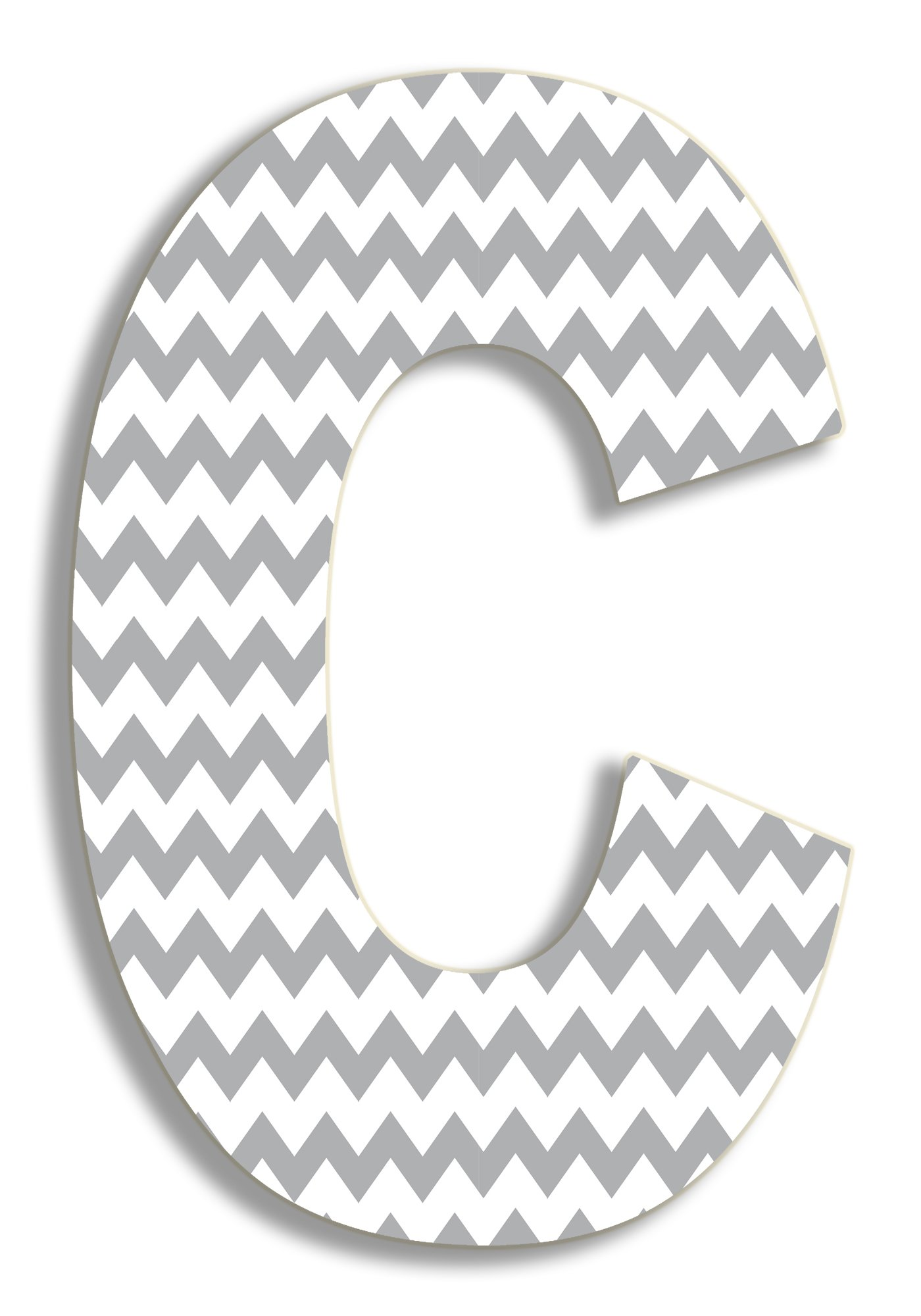 The Stupell Home Decor Collection Gray Chevron Hanging Wall Initial, 18-Inch, C by The Stupell Home Decor Collection