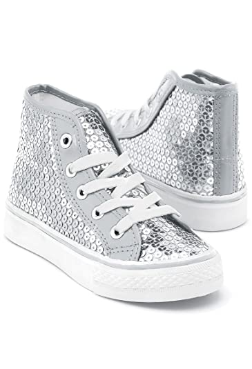 c23c329e845fc Balera Sequin High Top Dance Sneakers Silver 11AM