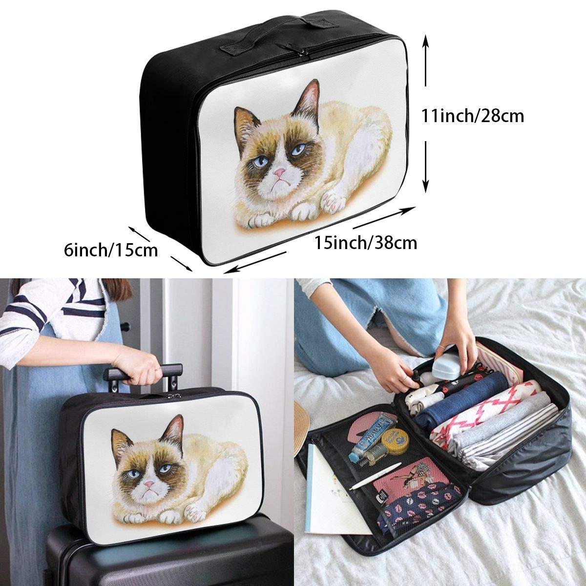 Grumpy Siamese Cat Angry Paws Travel Lightweight Waterproof Foldable Storage Carry Luggage Duffle Tote Bag Large Capacity In Trolley Handle Bags 6x11x15 Inch