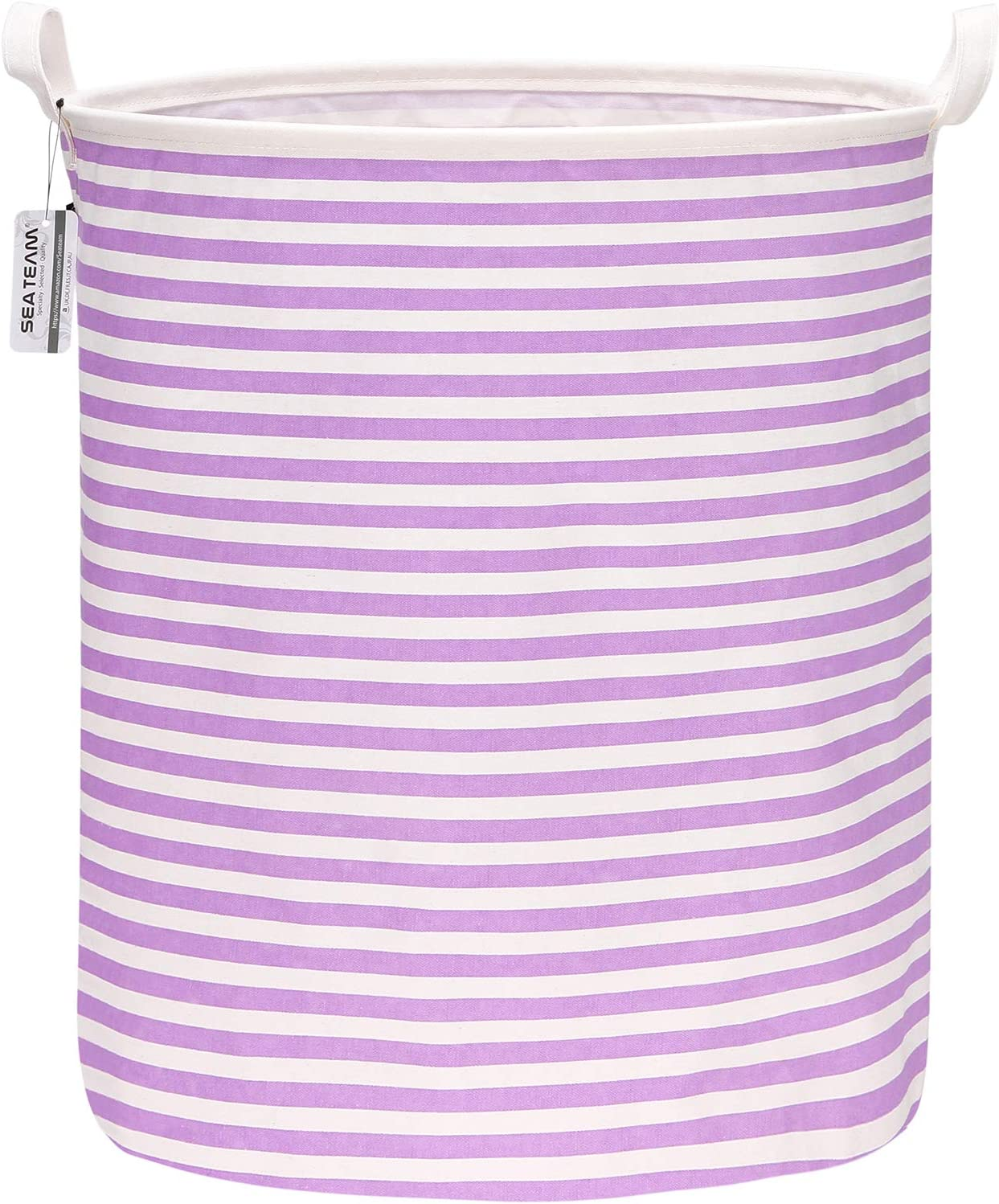 "Sea Team 19.7 Inches Large Sized Waterproof Coating Ramie Cotton Fabric Folding Laundry Hamper Bucket Cylindric Burlap Canvas Storage Basket (19.7"", Purple & White Stripe)"