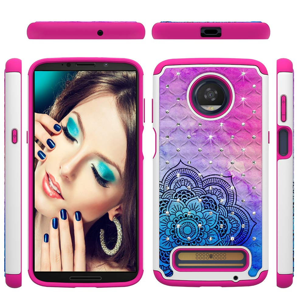 Moto Z3 Play Case 2018 [Soft TPU Skin + Hard PC Shell} Luxury Diamonds Two Layer Protective Cover Shock Absorption Bumper Anti-Scratch Shell Skin for Motorola Moto Z3 Play by Edauto (Flower)