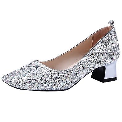 AIYOUMEI Damen Blockabsatz Lack Pumps Niedriger Absatz Schuhe mit Strasssteine IUmBen