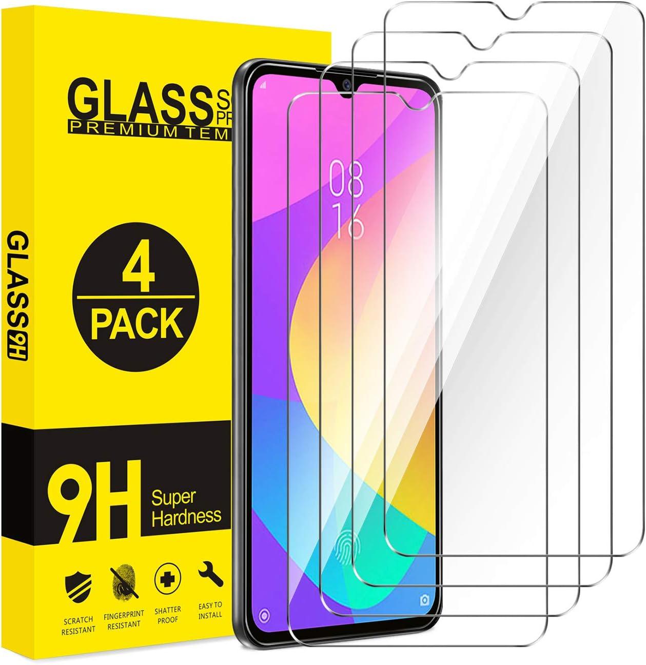 AROYI Cristal Templado Xiaomi Mi 9 Lite, [4-Pack] Protector Pantalla para Xiaomi Mi 9 Lite, Vidrio Templado con Alta Definición, Anti-Huella, Sin Burbujas, 9H Dureza