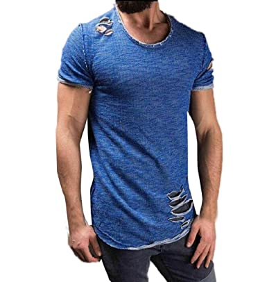 ZEZKT-Herren Slim Fit Shirt  Einfarbig Kurzarm Tops mit Destroied Design    Casual Oansatz 5ebe72a68e