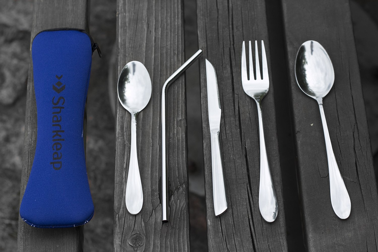 Sharkleap 5 Pieces Stainless Steel Utensil Set with Neoprene Case   Lightweight Cutlery Kit for School, College, Work, Camping and Other Outdoor Activities by Sharkleap (Image #4)