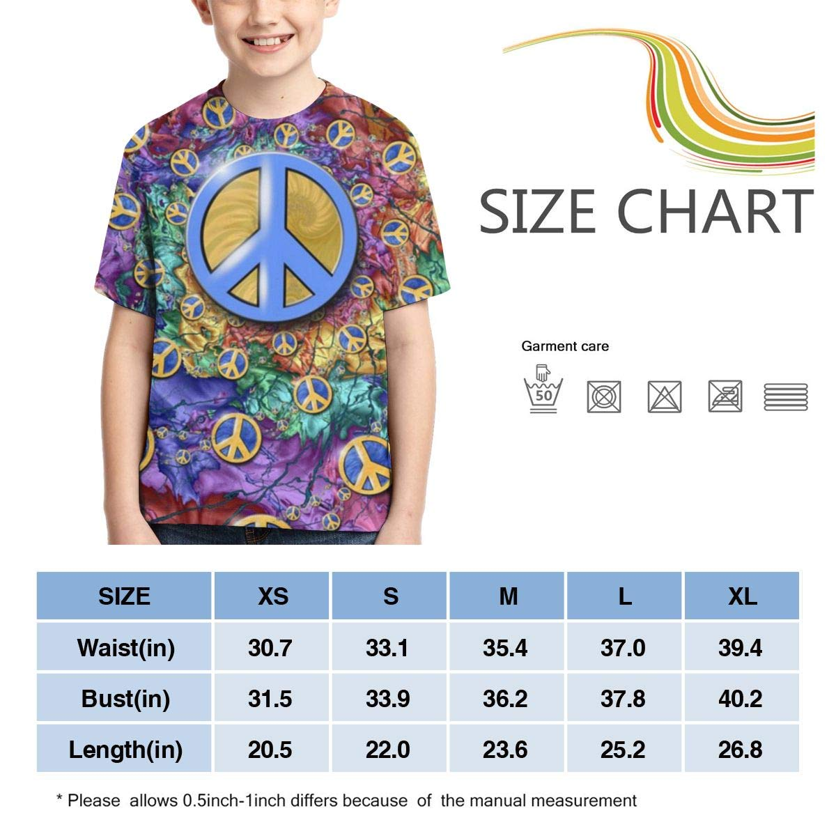 Boys Short Sleeve Hippie Art Spiral Peace and Love Sign 3D Printed T Shirt for Kids Cool Casual Top