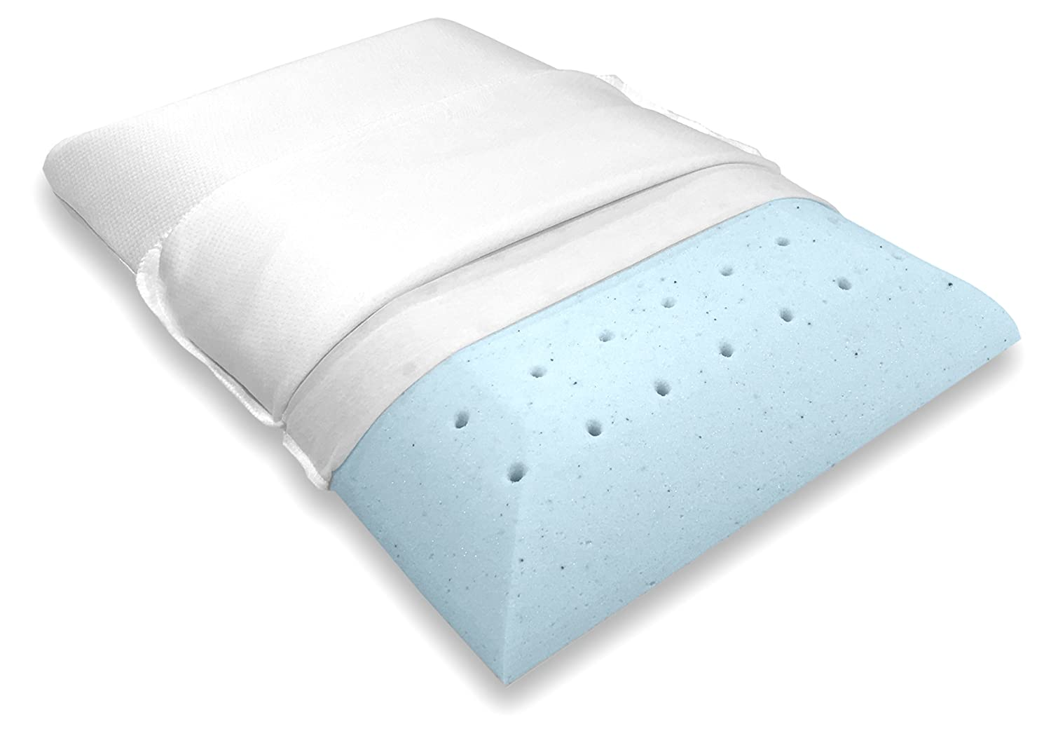 Bluewave Bedding Ultra Slim Gel Memory Foam Pillow for Stomach and Back Sleepers