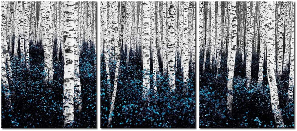 sechars - Birch Tree Canvas Wall Art Blue Forest Pictures Teal Gray Aspen Painting Modern Landscape Canvas Art Turquoise Wall Decor for Bathroom Bedroom Decor Set of 3