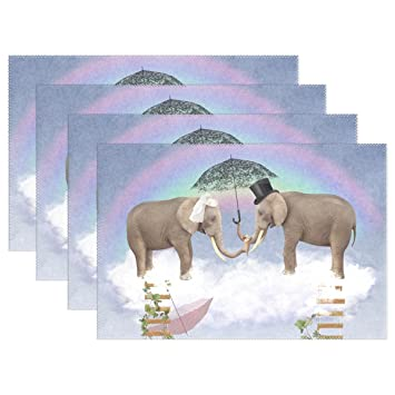 WOZO Hipster Elephant In Love Placemat Table Mat, Umbrella Valentineu0027s Day  Rainbow 12u0026quot; X