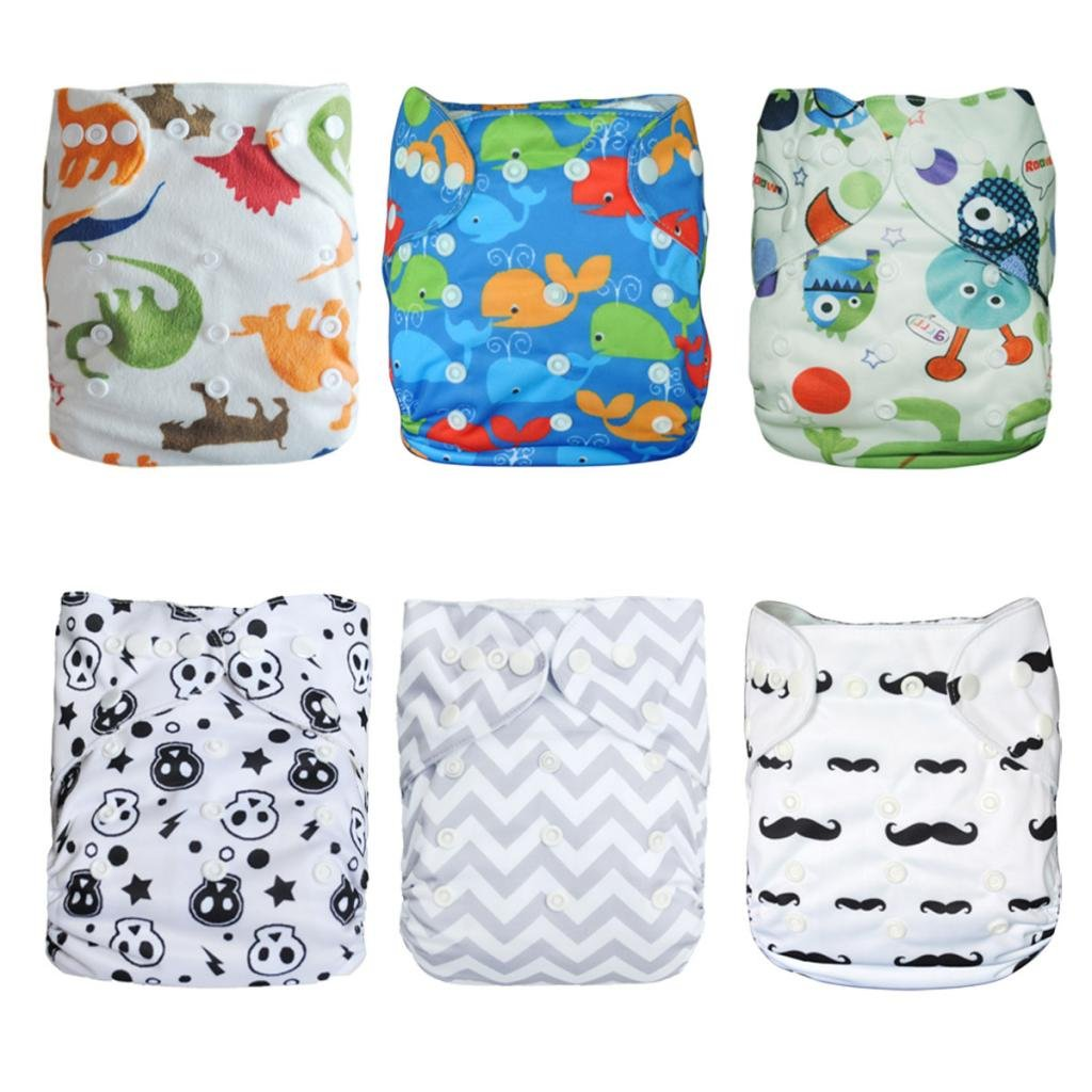 ALVABABY Cloth Diapers Pocket Washable Adjustable Reusable 6pcs with 12 Inserts 6DM08 by ALVA