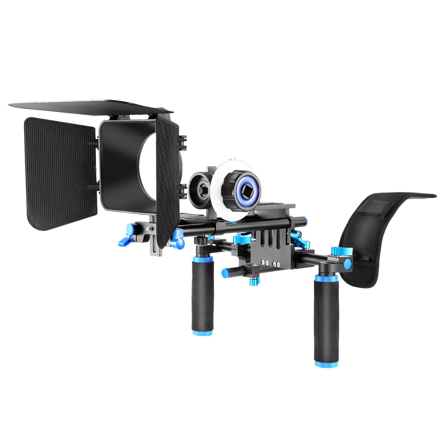 Neewer Film Movie Video Making System Kit for DSLR Cameras Video Camcorders,includes:Shoulder Mount,15mm Rod,Follow Focus,Matte Box(Blue) by Neewer