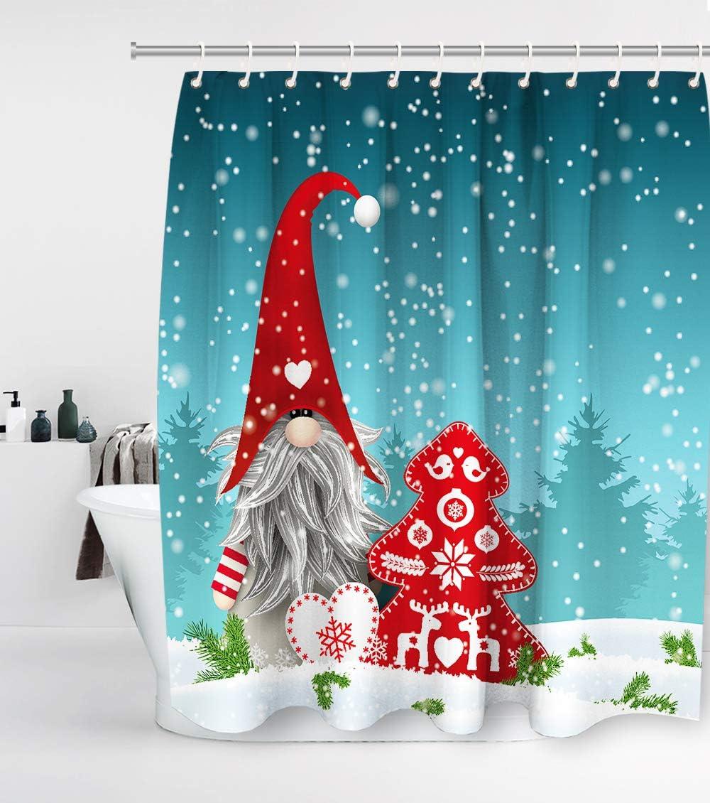 US Shipping Winter Snow Xmas Santa Reindeers Shower Curtain Set Bathroom Decor