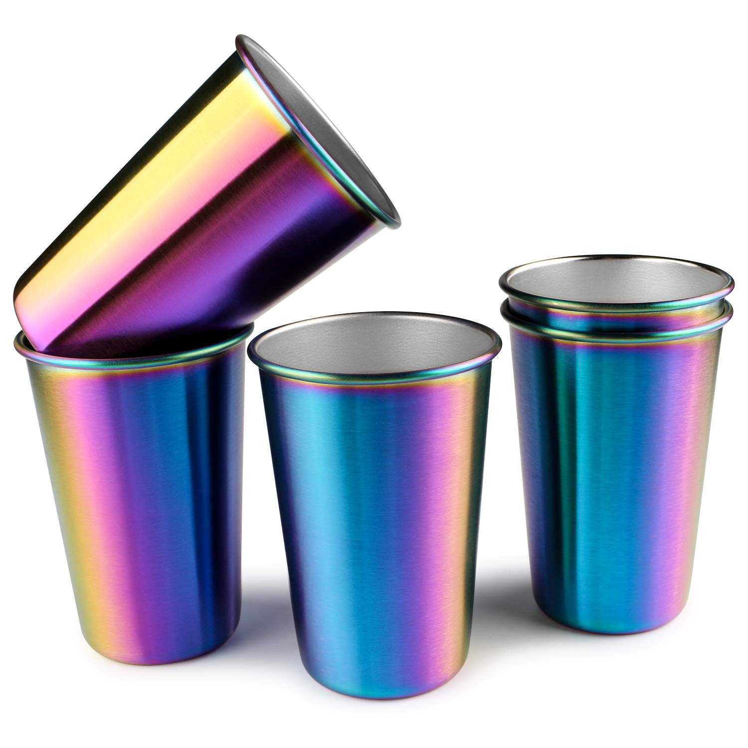Rainbow Party Cups, Kereda Stainless Steel Cups 16oz 5-Pack Premium Drinking Glasses Unbreakable Colorful Tumblers BPA Free Eco Friendly by KEREDA (Image #8)