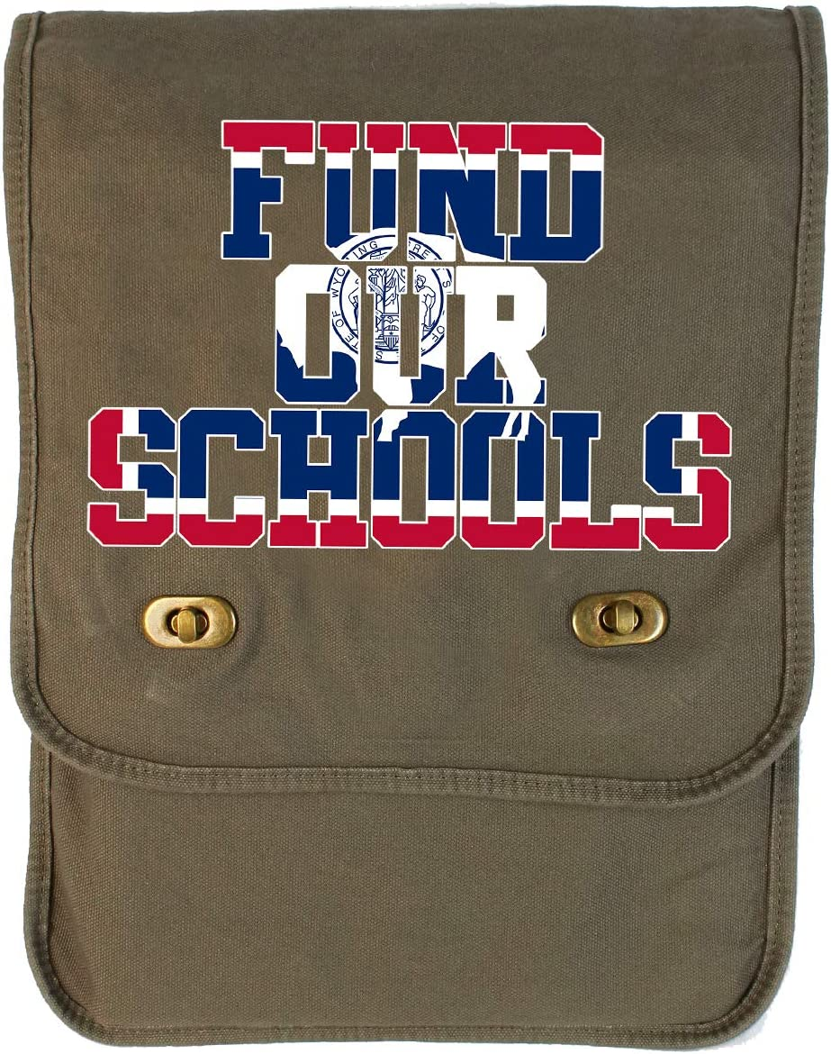 Tenacitee Fund our Wyoming Schools Khaki Green Canvas Field Bag