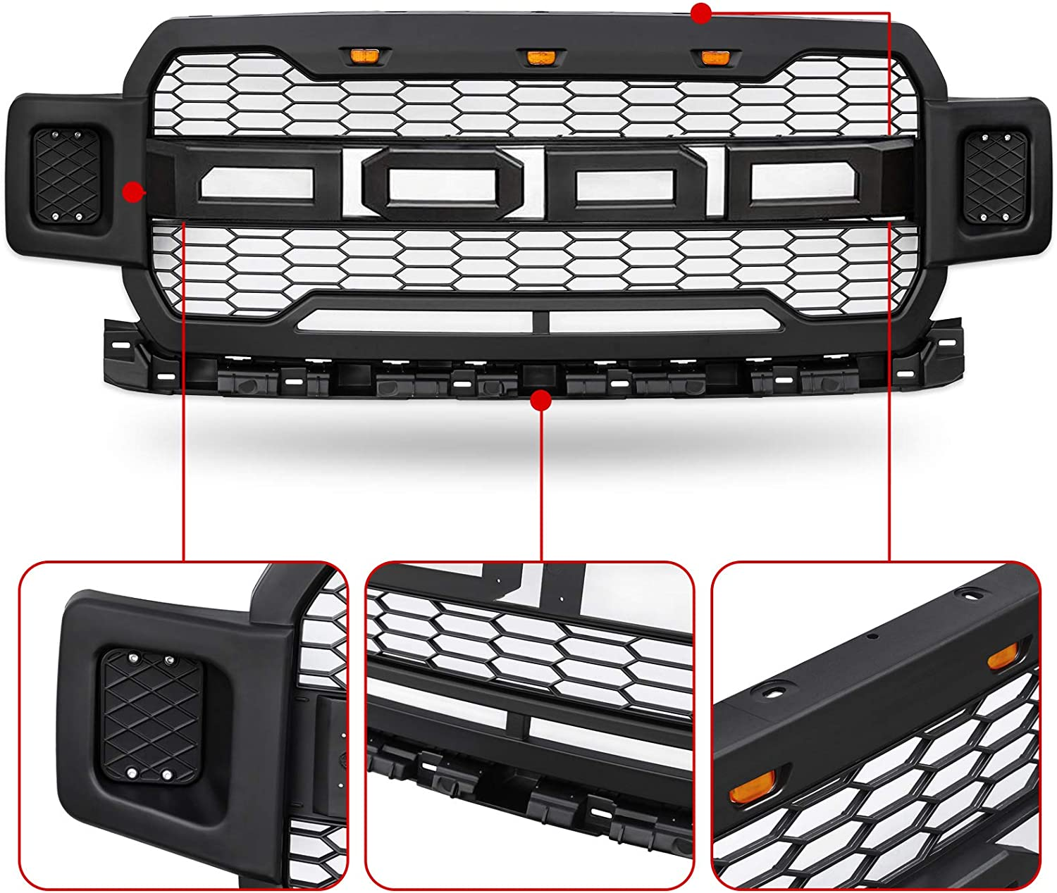 Modifying Front Grille Fits 2018-2019 FORD F150 ABS Mattle Raptor Style Honeycomb Grill with Conversion Letter Black