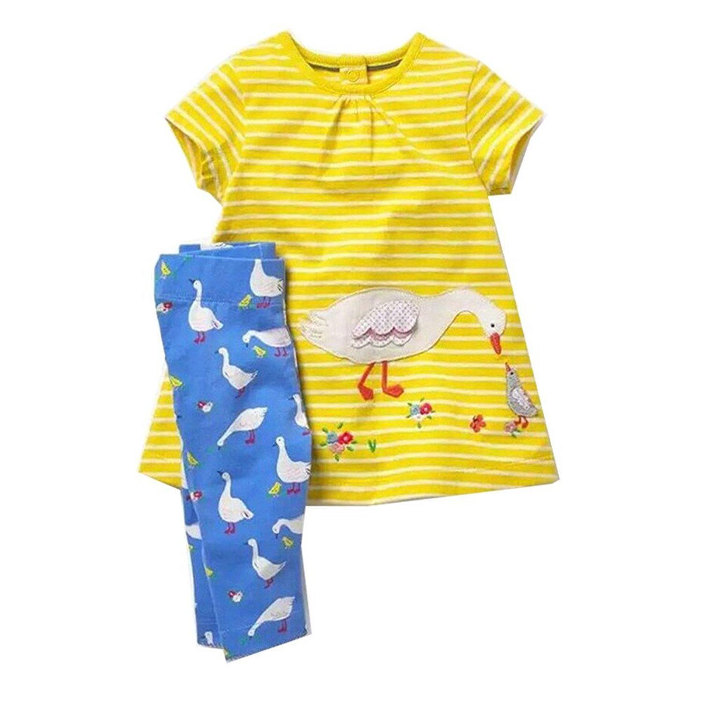 KIDSALON Little Girl Unicorn Rainbow T-Shirt Top Pants Outfit Clothing Set