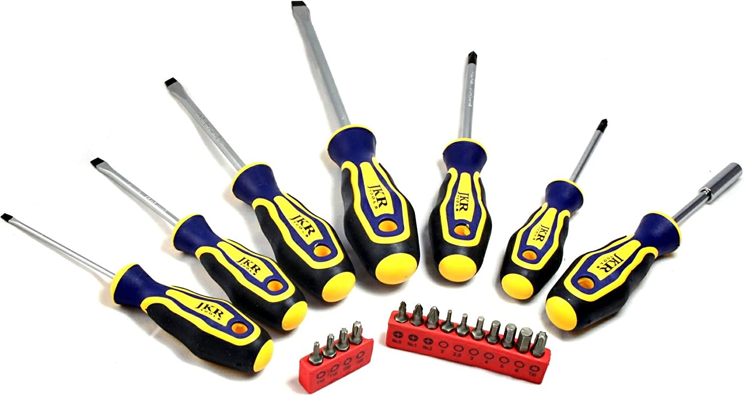 JKR Tools Comfortable Screwdriver Set 21 Pieces with 14 Hex Bits for Home DIY Use