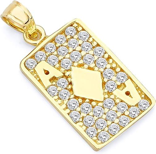 TWJC 14k Yellow Gold CZ Pendant
