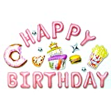 Happy Birthday Balloons Foil Letters, Wall decoration for Birthday Party Decoration - Pink