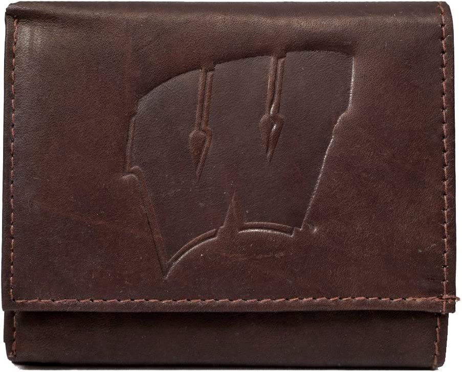 Rico Wisconsin Badgers Ncaa Distressed Look Embossed Logo Dark Brown Leather Trifold Wallet