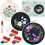 Caydo 3 Sets Embroidery Starter Kit with Pattern and Instructions, Cross Stitch Kit Include 3 Embroidery Clothes with Floral