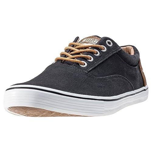 Mustang - Zapatillas de Lona para Hombre Negro Negro: Amazon.es: Zapatos y complementos